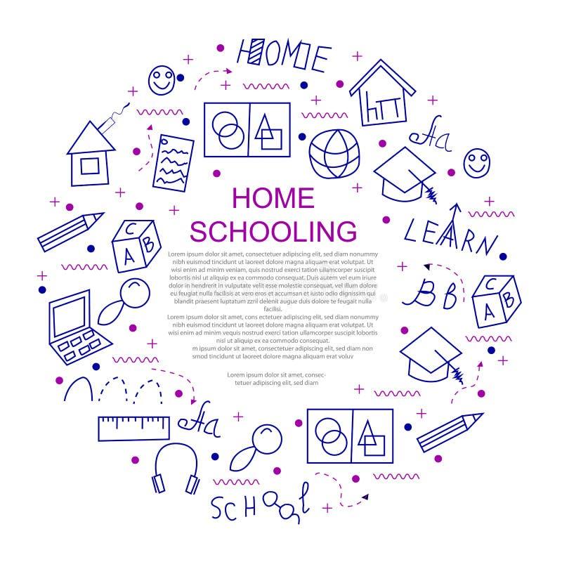 Concept d'éducation de Homeschooling illustration de vecteur