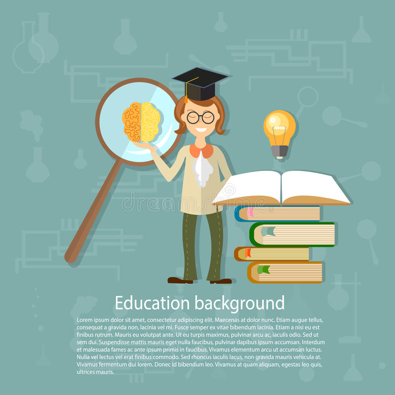 Concept d'éducation de nouveau aux étudiants de maître d'école illustration de vecteur