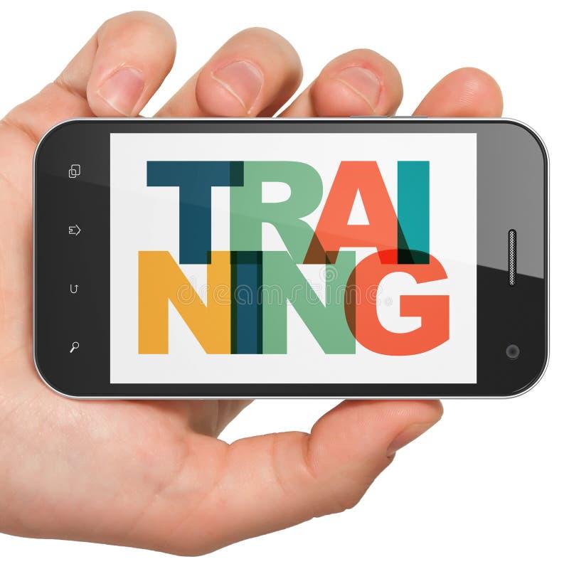 Concept d'éducation : Main tenant Smartphone avec la formation sur l'affichage illustration stock