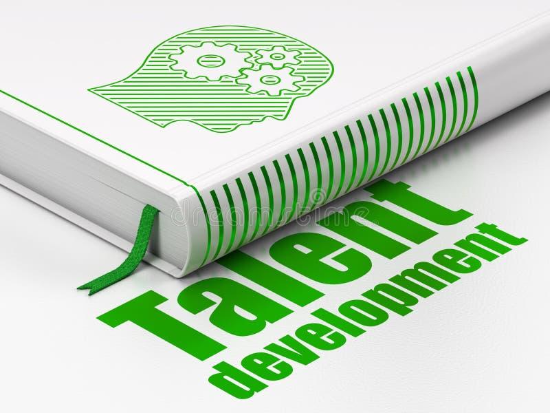 Concept d'éducation : réservez la tête avec des vitesses, développement de talent sur le fond blanc illustration libre de droits