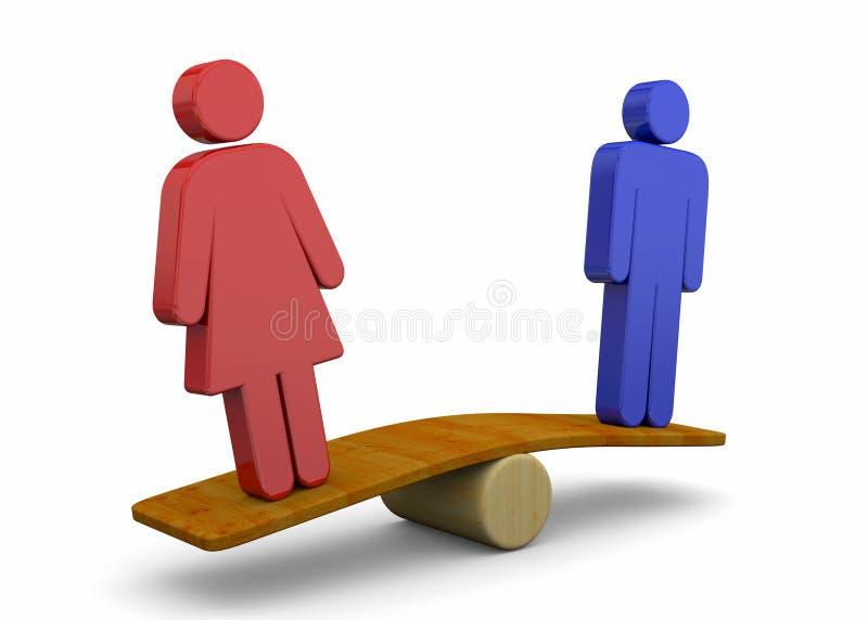 Concept d'égalité de sexe d'homme et de femme - 3D illustration libre de droits