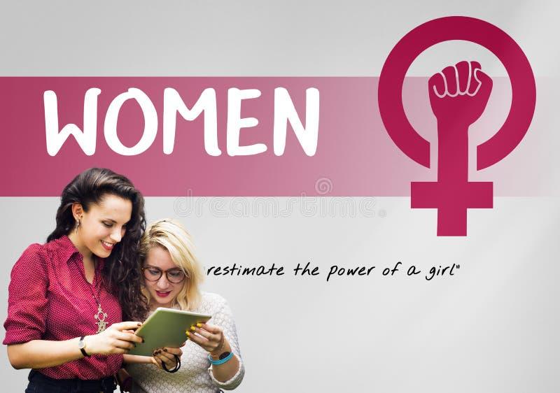 Concept d'égalité des chances du féminisme de puissance de fille de femmes photographie stock
