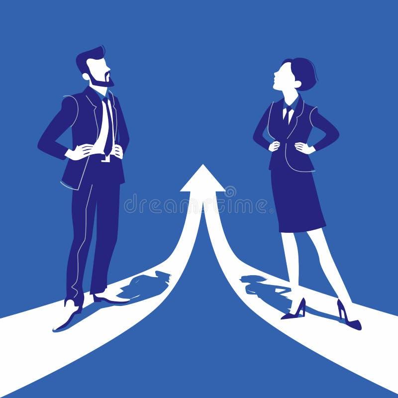 Concept d'égalité entre les sexes avec la femme et l'homme Illustration plate de vecteur de style illustration de vecteur