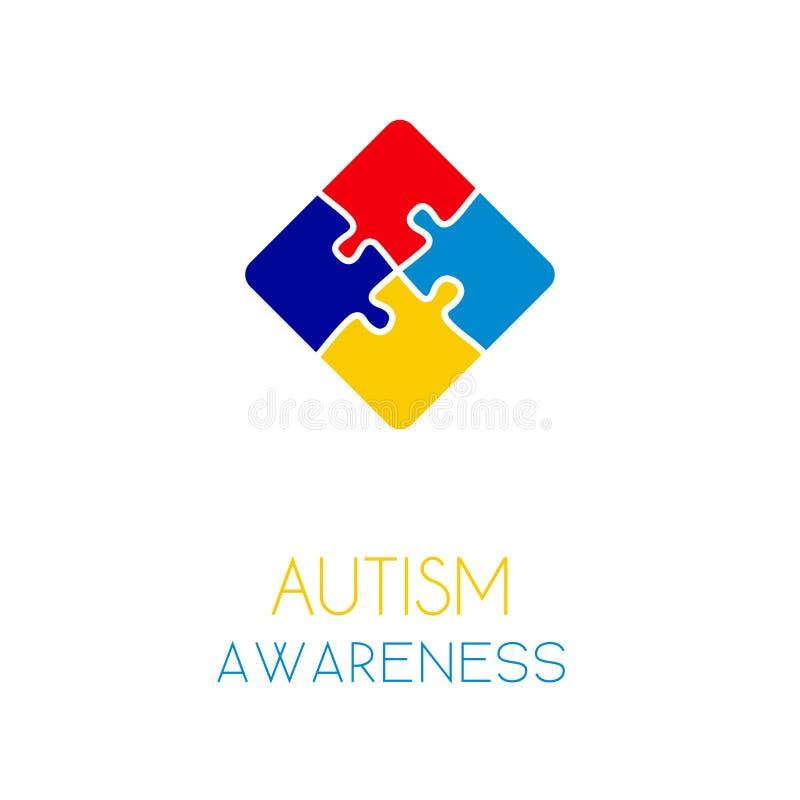 Concept d'éléments de puzzle de conscience d'autisme illustration de vecteur