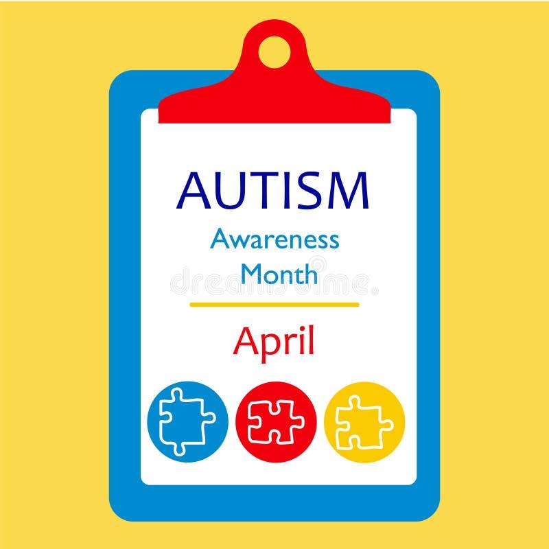 Concept d'éléments de puzzle de conscience d'autisme illustration stock