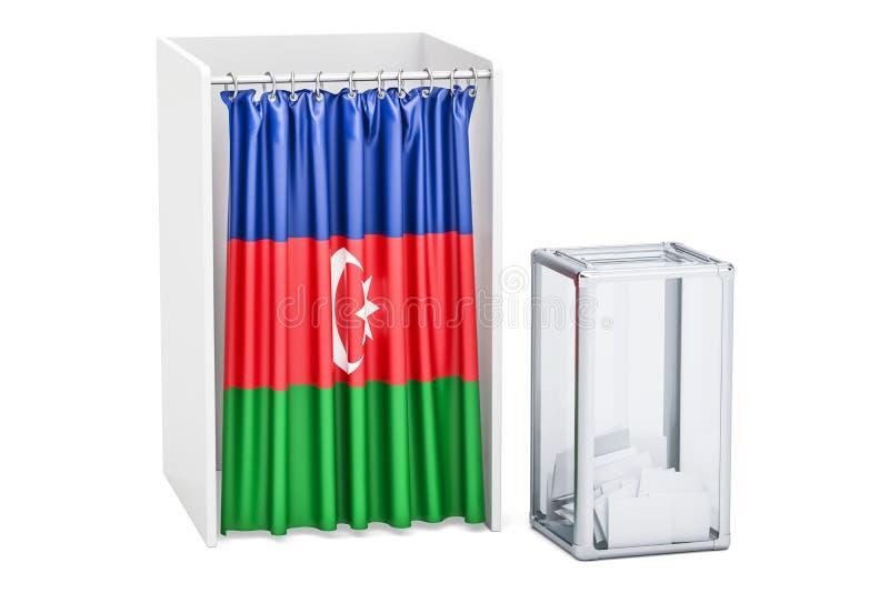 Concept d'élection de l'Azerbaïdjan, urne et cabines de vote avec f illustration libre de droits