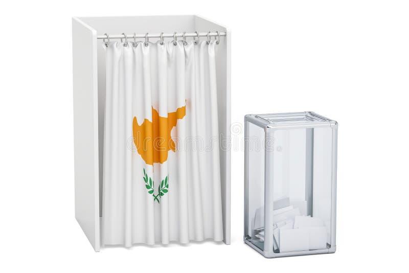 Concept d'élection de la Chypre, urne et cabines de vote avec le drapeau, illustration de vecteur