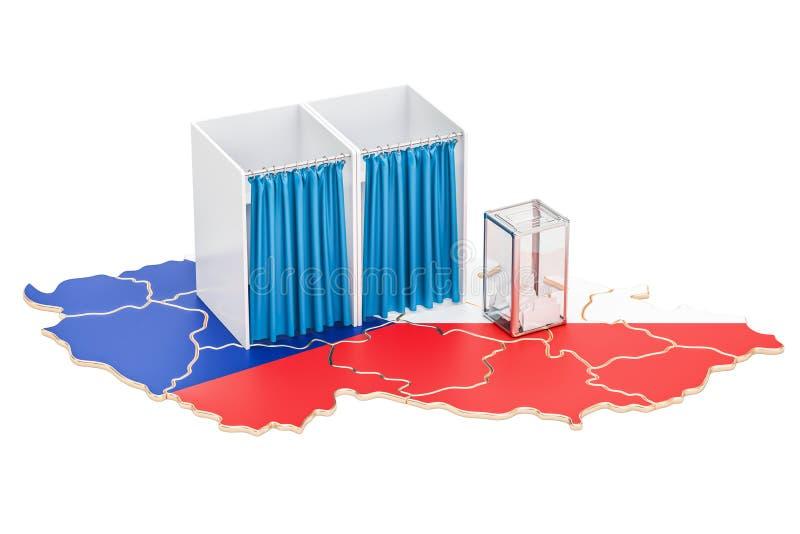 Concept d'élection de République Tchèque, urne et cabines de vote dessus illustration de vecteur
