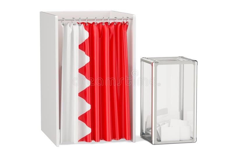 Concept d'élection du Bahrain, urne et cabines de vote avec le drapeau illustration de vecteur