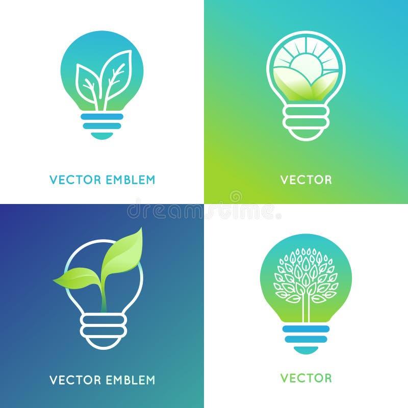 Concept d'énergie d'Eco - icônes d'ampoule avec les feuilles vertes illustration de vecteur