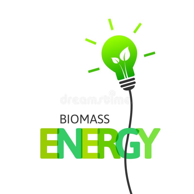 Concept d'énergie de biomasse avec l'ampoule et les feuilles illustration stock