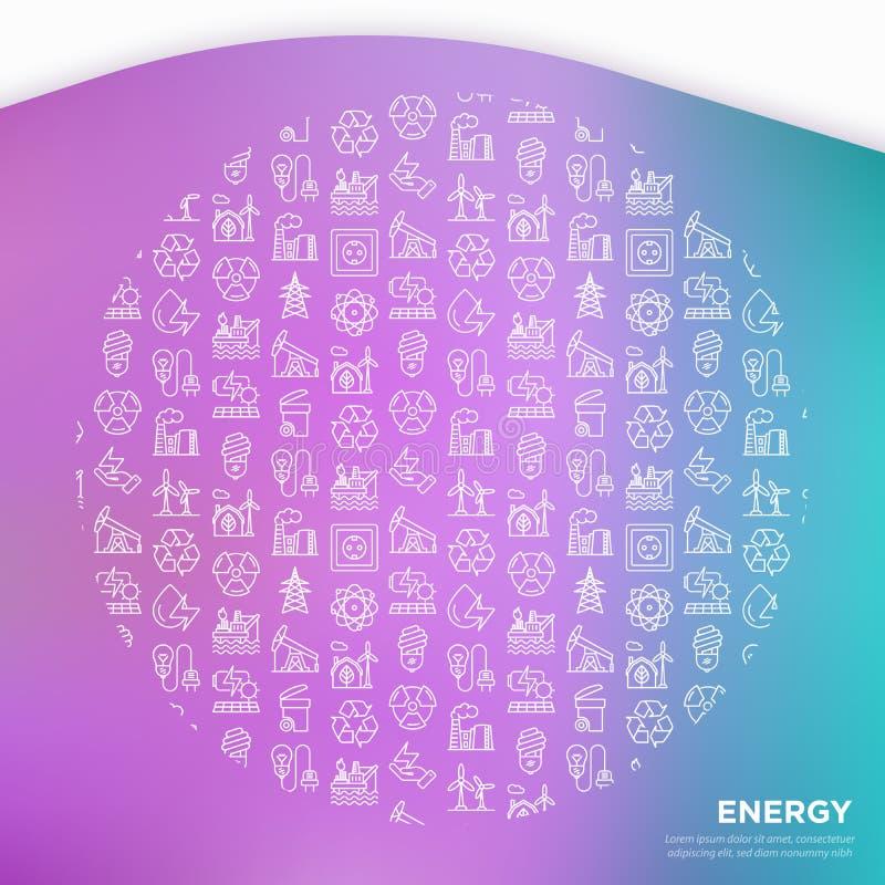 Concept d'énergie en cercle avec la ligne mince icônes : usine, plateforme pétrolière, hydroélectricité, énergie éolienne, prise  illustration de vecteur