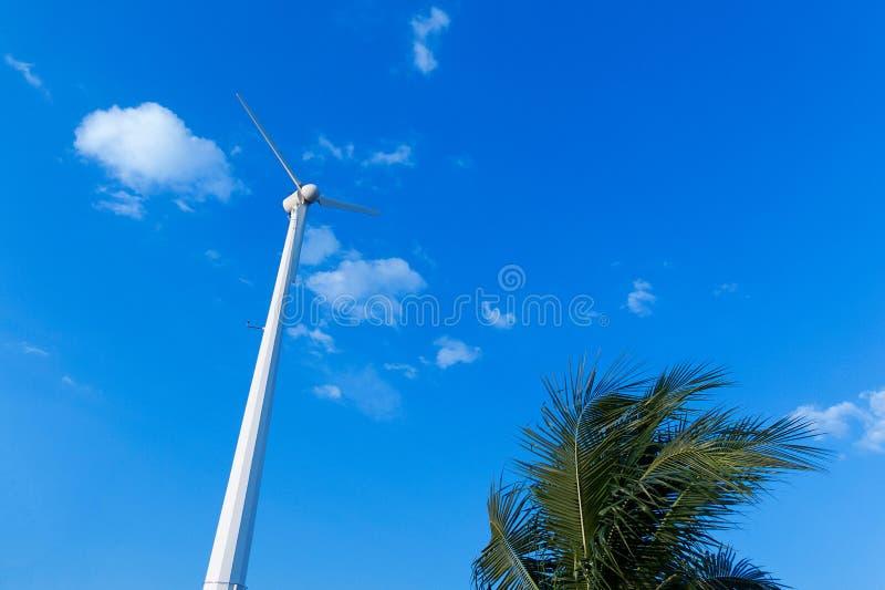 Concept d'énergie propre Source d'énergie renouvelable de turbine de vent photos stock