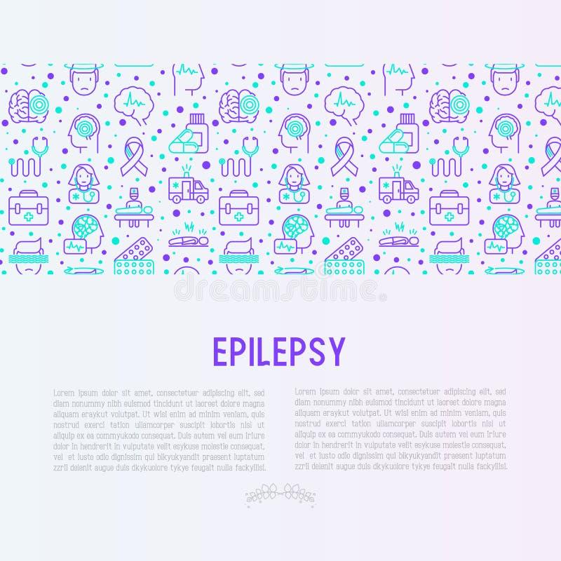 Concept d'épilepsie avec la ligne mince icônes illustration de vecteur