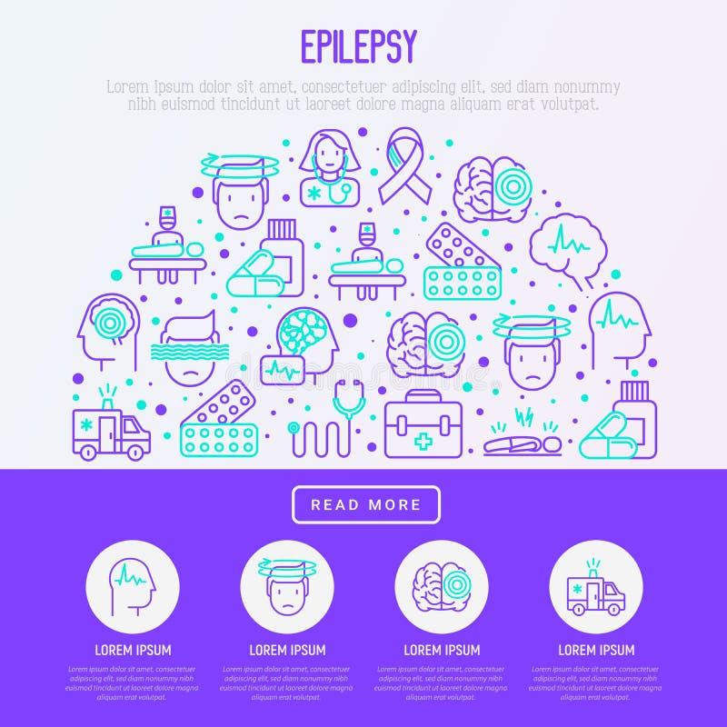 Concept d'épilepsie dans le demi-cercle illustration de vecteur