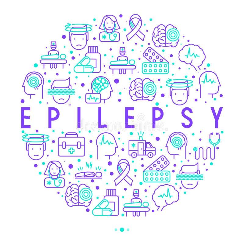 Concept d'épilepsie en cercle avec la ligne mince icônes illustration stock