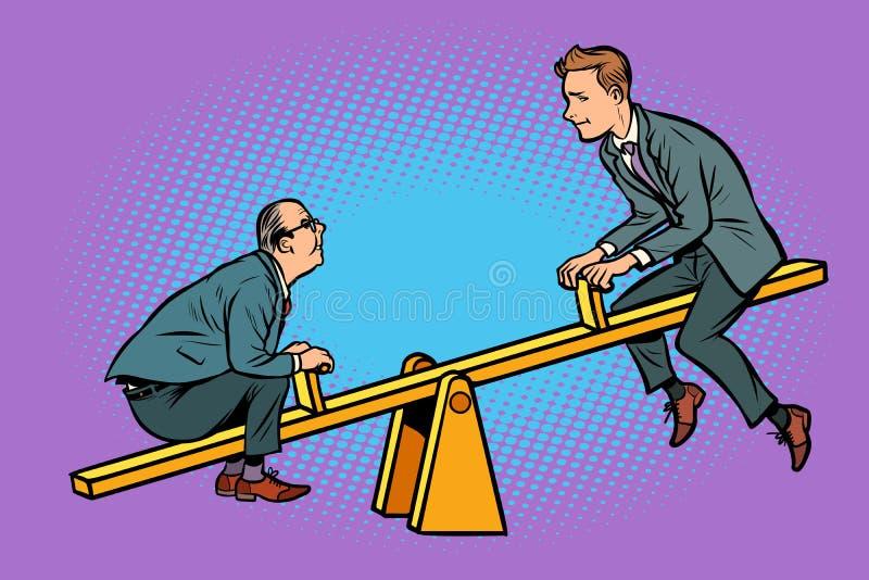 Concept d'équilibre de grande et petite entreprise D'une bascule illustration stock