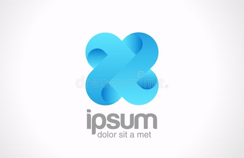Concept d'équipe. Croix bleue de boucle de logo. Infini de cycle   illustration stock