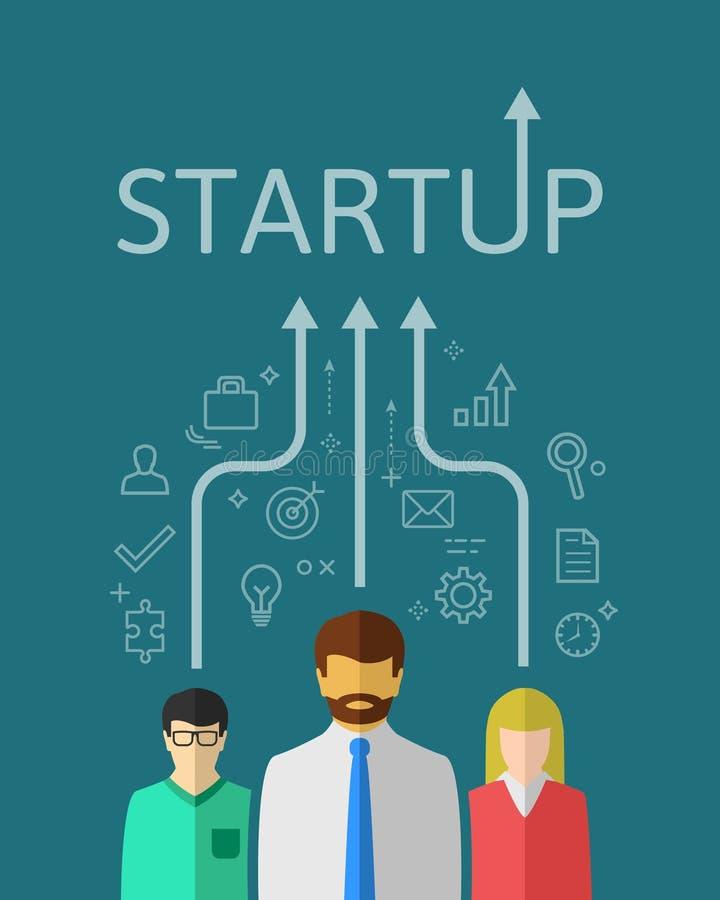 Concept d'équipe de jeune entreprise dans la conception plate illustration de vecteur