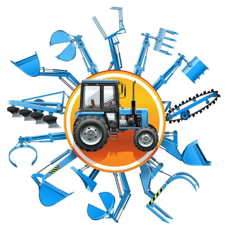 Concept d'équipement de tracteur de vecteur illustration stock