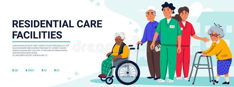 Concept d'équipements de soins en établissement Groupe des personnes âgées et d'assistants sociaux Bannière ou couverture horizon illustration de vecteur