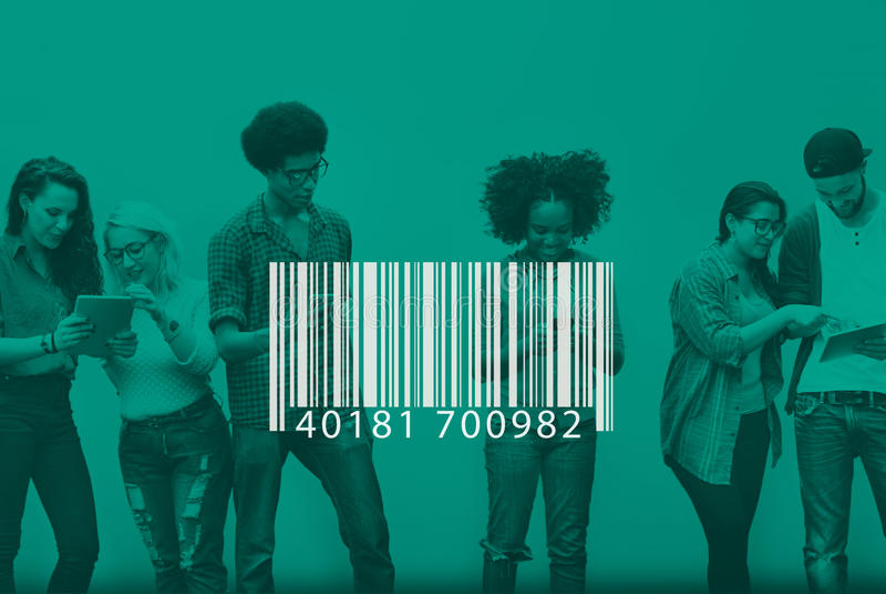 Concept d'étiquette de chiffrage de label d'identification de code barres photo stock