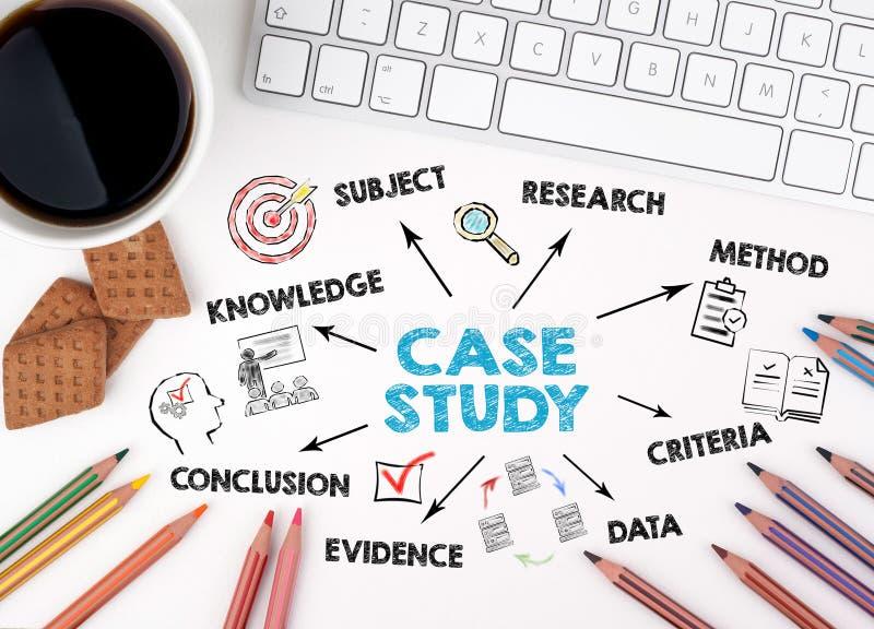 Concept d'étude de cas Diagramme avec des mots-clés et des icônes photographie stock libre de droits