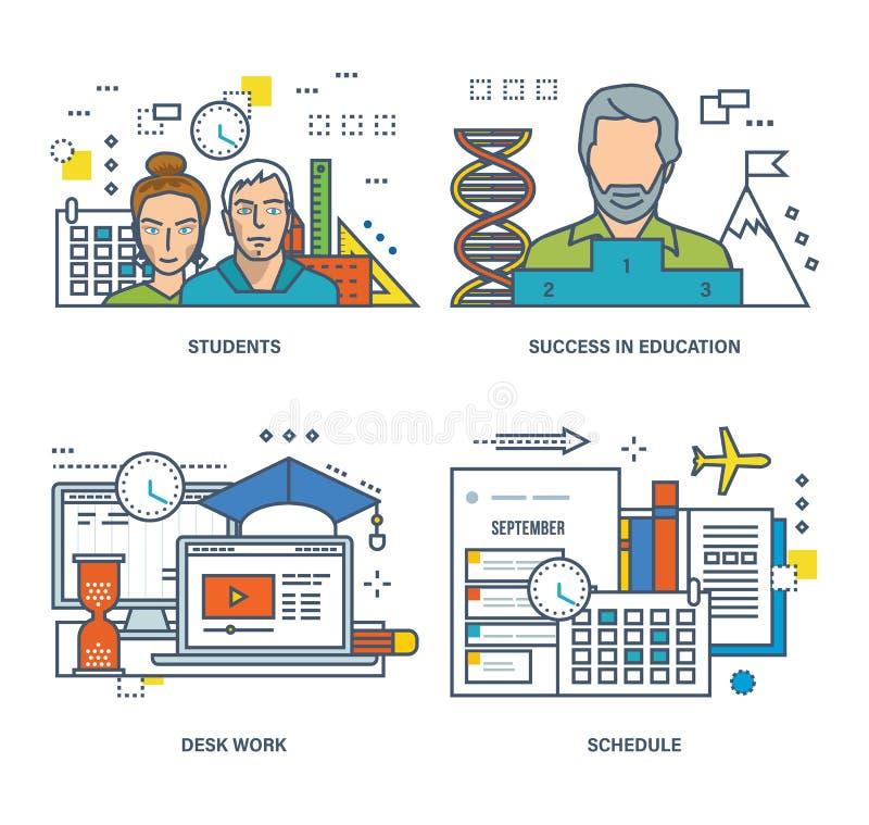 Download Concept D'étudiant Et De L'étude, Succès Dans L'éducation, Travail De Bureau Illustration de Vecteur - Illustration du science, programme: 77150871