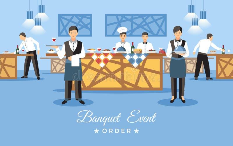 Concept d'événement de banquet Illustration plate de vecteur illustration stock