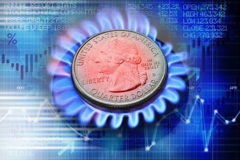 Concept d'évolution de prix du gaz avec pièce de monnaie de dollar US sur le brûleur à gaz et le fond abstrait photographie stock