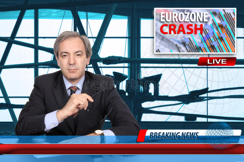 Concept d'accident de zone euro photographie stock