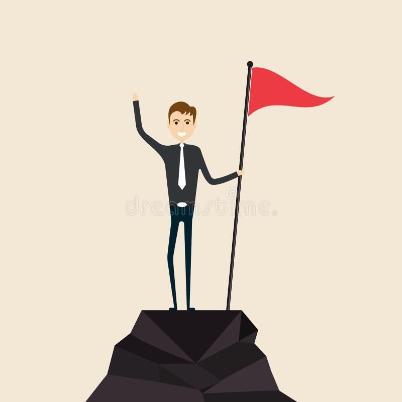 Concept d'accomplissement, de succès et de direction Grimpeur avec l'escroquerie de drapeau illustration de vecteur
