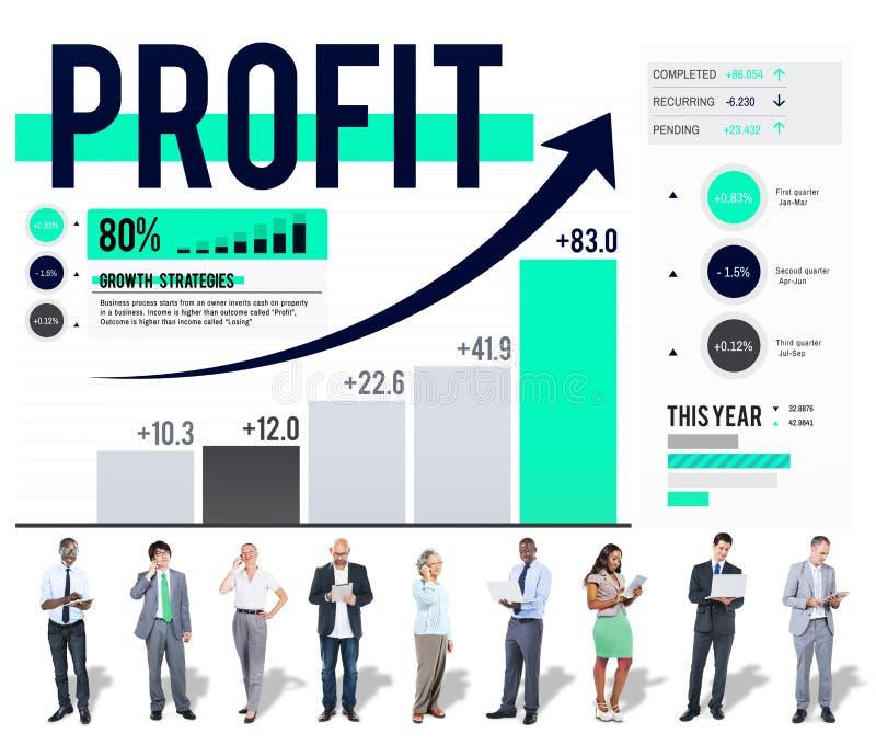 Concept d'accumulation d'argent d'analyse de données de finances de bénéfice images libres de droits