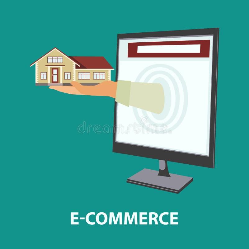 Concept d'achat et de propriété locative dans le style plat illustration libre de droits