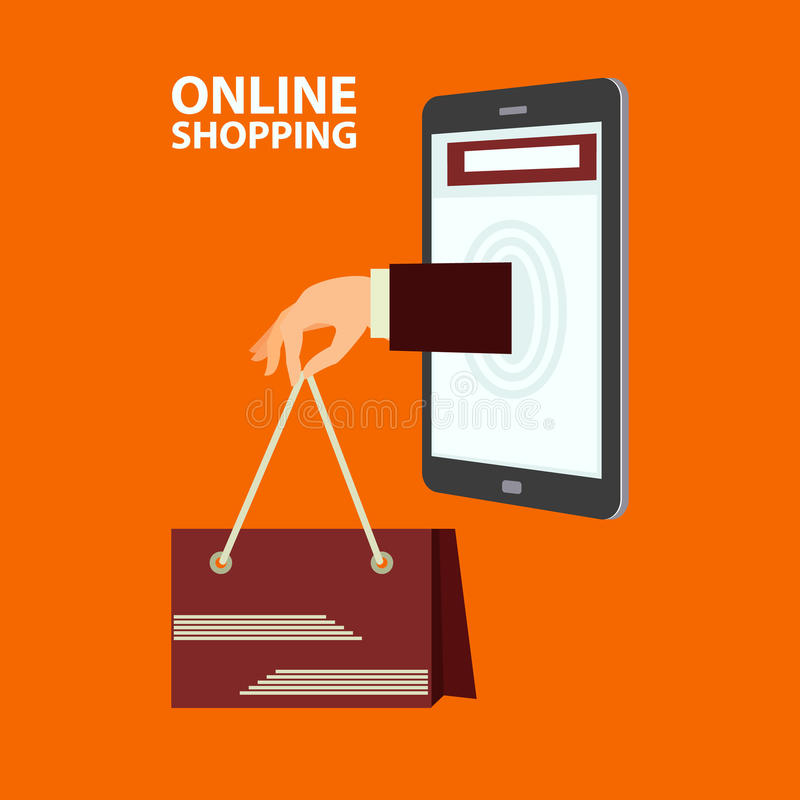 Concept d'achats d'Internet dans le style plat illustration stock