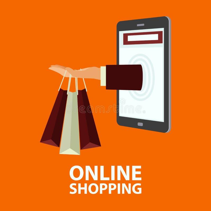 Concept d'achats d'Internet dans le style plat illustration de vecteur