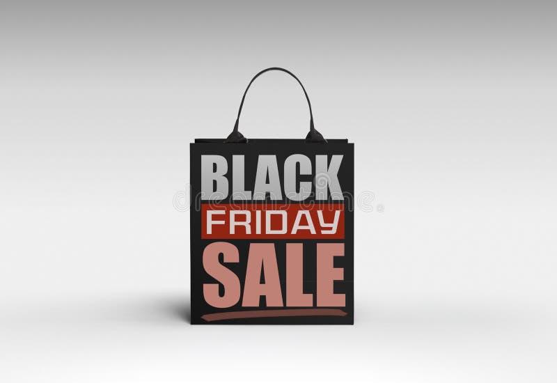 Concept d'achats de Black Friday : Panier noir sur gris-clair illustration de vecteur