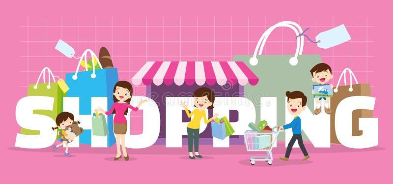 Concept d'achats de famille illustration libre de droits