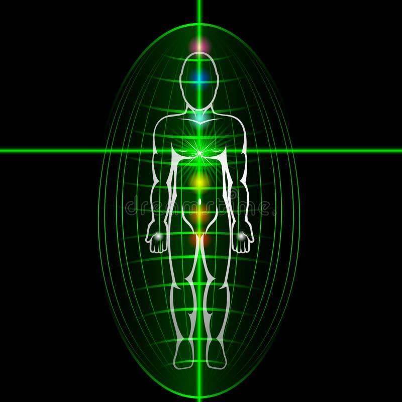 Concept d'activation de chakra de coeur Homme avec l'aura brillante illustration stock