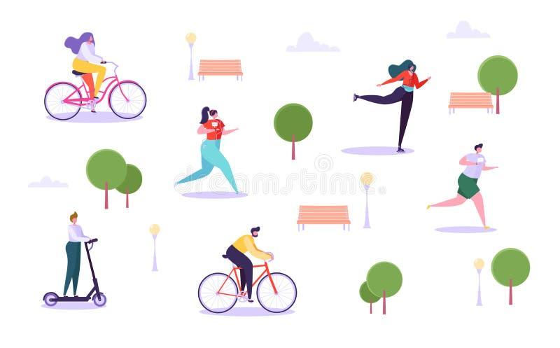 Concept d'activités en plein air de loisirs Caractères actifs fonctionnant dans la bicyclette d'équitation de parc, d'homme et de illustration stock