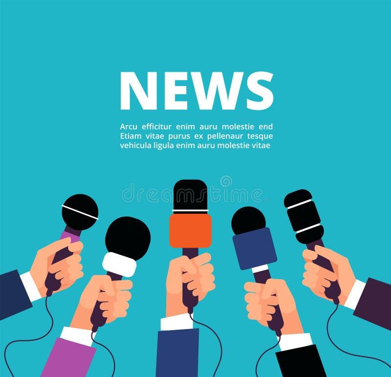 Concept d'actualités avec des microphones La radiodiffusion, l'entrevue et la communication dirigent la bannière avec le handa te illustration de vecteur