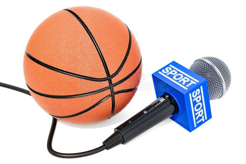 Concept d'actualités de basket-ball Actualités de sport de microphone avec le basket-ball b illustration de vecteur