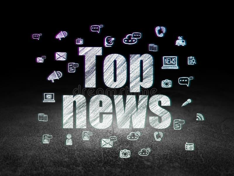 Concept d'actualités : Dernières nouvelles dans la chambre noire grunge illustration de vecteur
