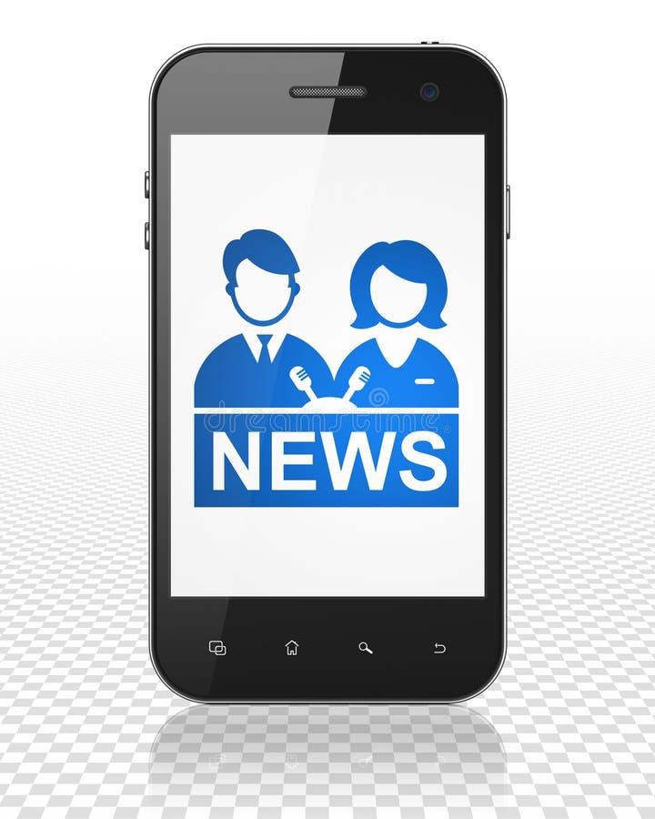 Concept d'actualités : Smartphone avec le présentateur sur l'affichage illustration de vecteur