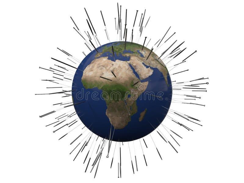 Concept d'acuponcture avec la terre illustration 3D illustration libre de droits