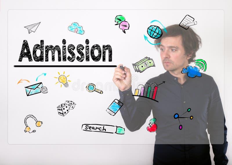 Concept d'admission Écriture d'homme d'affaires avec le marqueur noir sur le visu photographie stock