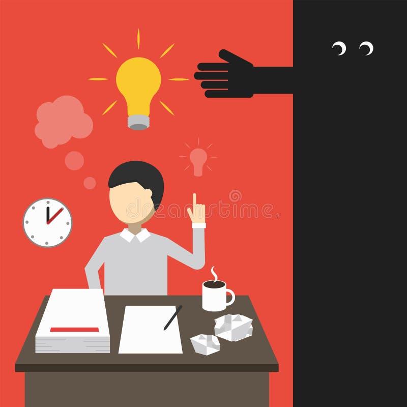 Concept d'affaires Équipez le travail tard dans la nuit illustration stock