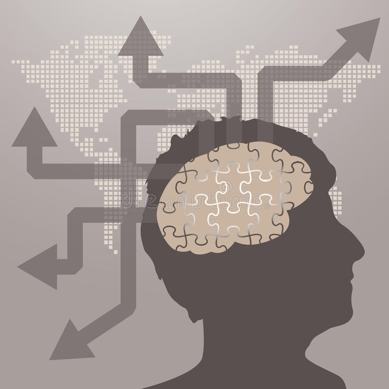 Concept d'affaires au sujet d'idée et d'innovation illustration de vecteur