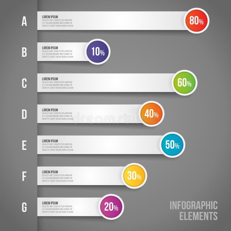 Concept d'affaires avec le pourcentage dans le déroulement des opérations d'infographics de vecteur, barre analogique, diagramme  illustration libre de droits