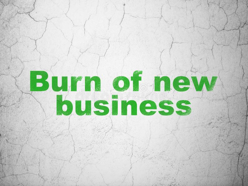 Concept d'affaires : Brûlure des affaires nouvelles sur le fond de mur illustration de vecteur